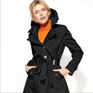 👧 Calvin Klein hooded black trench Coat XS
